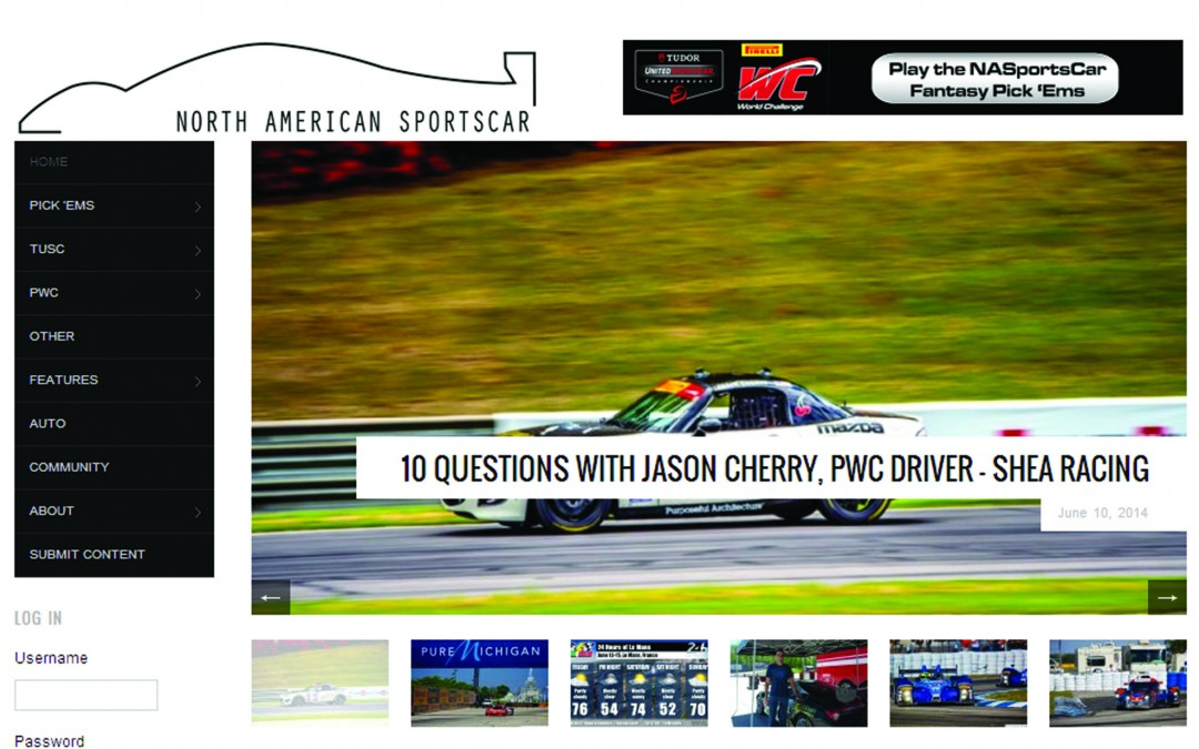 Jason Cherry Featured in North American Sportscar Article